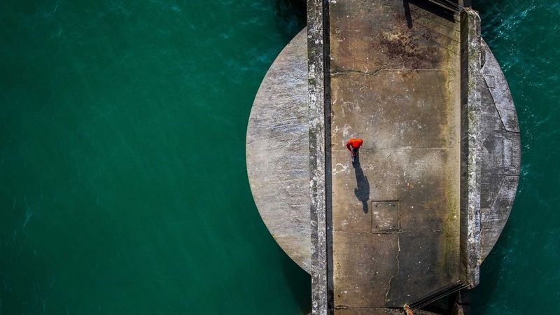 Image of a person from above taken using a drone